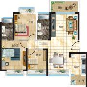 汇美豪庭3室2厅2卫96平方米户型图