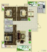 上海花园・新外滩3室2厅2卫128--130平方米户型图