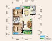 清风华园2室2厅1卫89平方米户型图