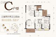 华润二十四城3室2厅2卫103平方米户型图