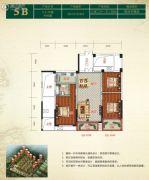 金色阳光花园3室2厅1卫110平方米户型图