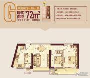顶�L国际城2室2厅1卫72平方米户型图