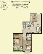 天泽茗园2室2厅1卫88平方米户型图