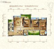 东江首府3室2厅2卫144平方米户型图