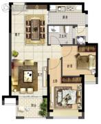 鑫月城2室2厅1卫72平方米户型图