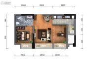 蓝光金悦派2室2厅1卫54平方米户型图