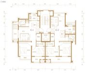 东港筑心苑2室2厅1卫84--85平方米户型图