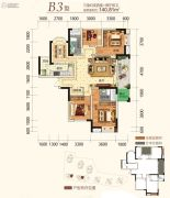 同创金色明天3室2厅2卫140平方米户型图