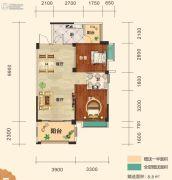幸福东郡2室2厅1卫81平方米户型图