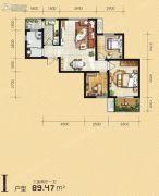 满堂悦MOMΛ3室2厅1卫89平方米户型图