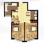 城关江南明珠2室2厅1卫80平方米户型图