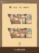 瑞浩�B公馆3室2厅2卫67平方米户型图