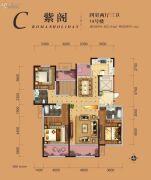 �|方米兰国际城4室2厅3卫163平方米户型图