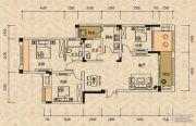 北麓国际城3室2厅2卫91平方米户型图