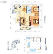 鸿潮宝来华府2室2厅1卫83平方米户型图