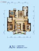 蓝湾庄园3室2厅2卫142平方米户型图