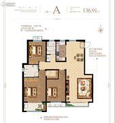 泰华・梧桐苑一期3室2厅2卫136平方米户型图