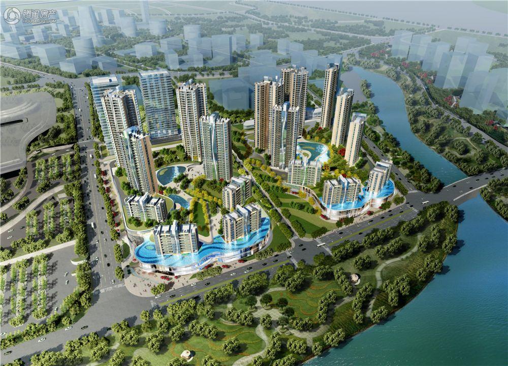 棕榈泉悦江国际项目鸟瞰效果图