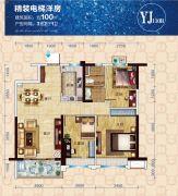 碧桂园3室2厅1卫100平方米户型图