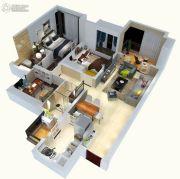 绿地悦麓名邸3室2厅2卫90平方米户型图