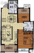 国信紫玉台2室2厅1卫75平方米户型图