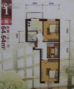 唯美品格新城二期2室1厅1卫64平方米户型图