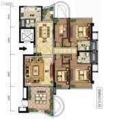 天合名�T4室2厅3卫160平方米户型图