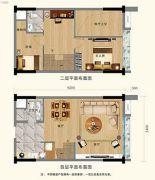 尚东数字居2室2厅2卫70平方米户型图