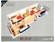 龙溪第2室1厅1卫90平方米户型图