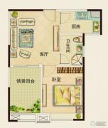 中铁逸都国际1室1厅1卫0平方米户型图