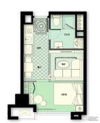 林荫大院1室2厅1卫43平方米户型图