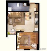 文化空间1室1厅1卫50平方米户型图