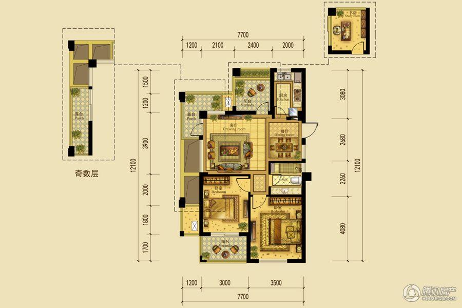 A1户型 2室2厅1卫 88.836㎡ 7#8#9#