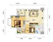 五岭国际2室1厅1卫46平方米户型图