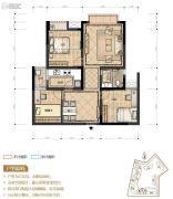 置地城3室2厅1卫73平方米户型图