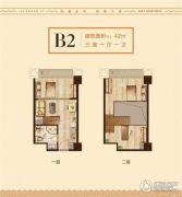 爱尚里3室1厅1卫42平方米户型图