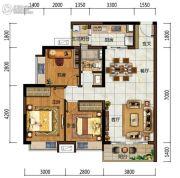 中海左岸岚庭3室2厅1卫89平方米户型图