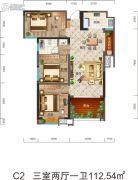 盈丰国际3室2厅1卫112平方米户型图