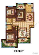 万国园白金汉府3室2厅2卫138平方米户型图