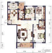 城市之星3室2厅2卫0平方米户型图