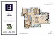 越秀国际金融汇3室2厅2卫124平方米户型图
