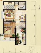 红木林1室2厅1卫67平方米户型图