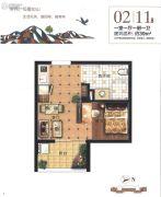 雁鸣湖畔1室1厅1卫39平方米户型图