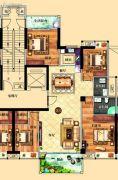 鸿泰华府4室2厅2卫148平方米户型图