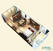 博辉戴河国际1室1厅1卫47平方米户型图