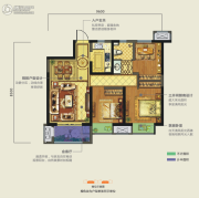 龙湖香醍�Z宸3室2厅1卫89平方米户型图