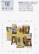 雅居乐御景豪庭3室2厅2卫130平方米户型图