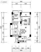 华发城建未来荟2室2厅1卫72平方米户型图