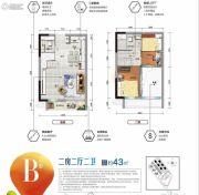 碧桂园・万象松湖2室2厅2卫0平方米户型图
