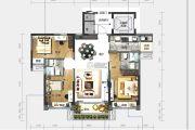 中山碧桂园天玺湾3室2厅2卫108平方米户型图
